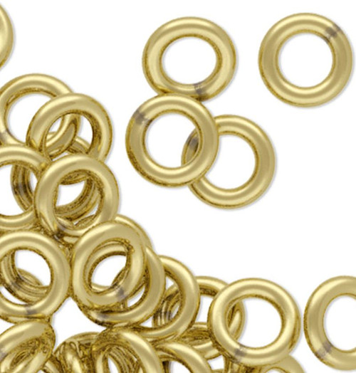100 Gold Brass 4.5mm Soldered Round 18 Gauge Jump Rings with  2.5mm ID