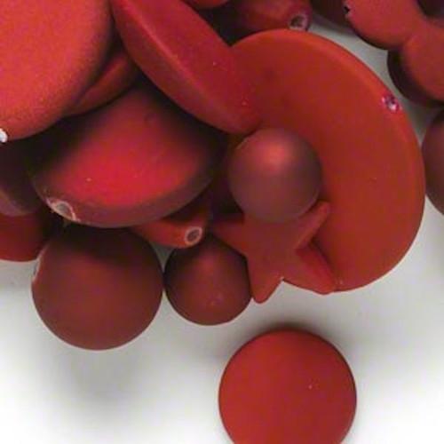 1/4lb Matte Dark Red Rubberized Coating Acrylic Bead Mix *