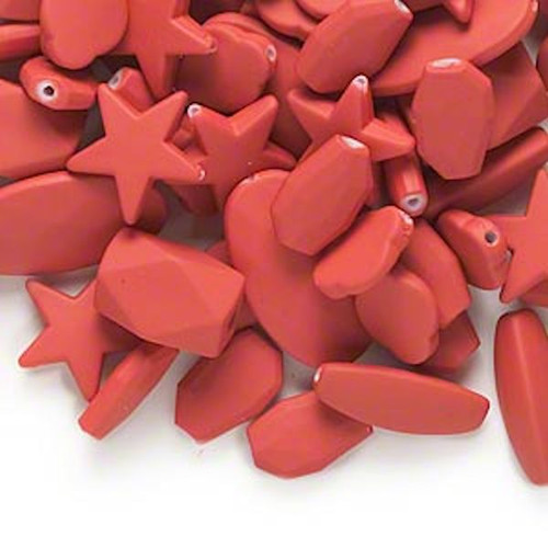 1/4lb Matte Red Rubberized Coating Acrylic Bead Mix *