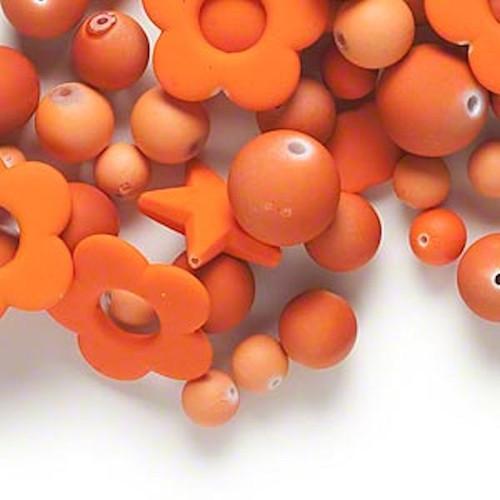 1/4lb Matte Orange Rubberized Coating Acrylic Bead Mix *