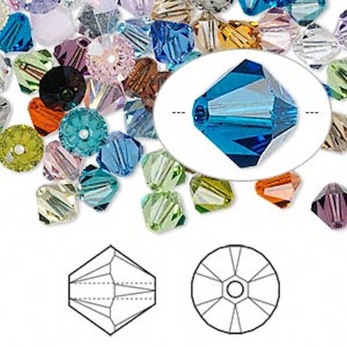 144 Swarovski 6mm Xilion Crystal Bicone Beads (5328) Mix of Colors