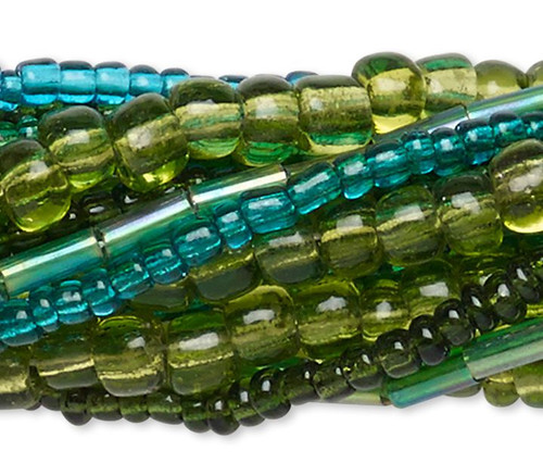 "Ten 14"" Strands Assorted Green Plus Seed & Bugle Glass Bead Mix"