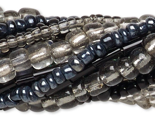 "Ten 14"" Strands Assorted Grey Seed & Bugle Glass Bead Mix"