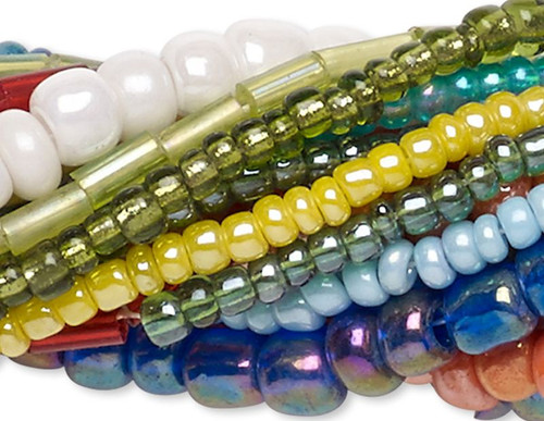 "Ten 14"" Strands Assorted Seed & Bugle Glass Bead Mix"