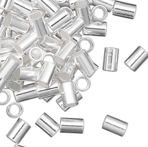 10 Sterling Silver 3x2mm Seamless Tube Crimp Beads with 1.3mm ID