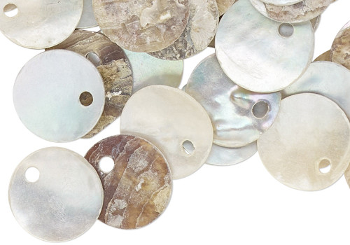 100 Light Blue Grey Tan Mussel Shell 10mm Coin Drop Charms