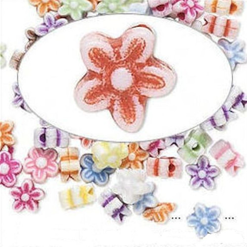 100 Acrylic Double Sided Multi  9x9mm FLOWER Bead Mix *