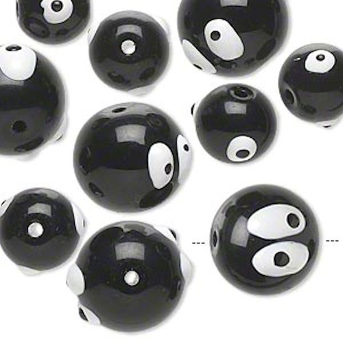 10 Hand Painted Epoxy Glass Black & White Eye Beads Mix *