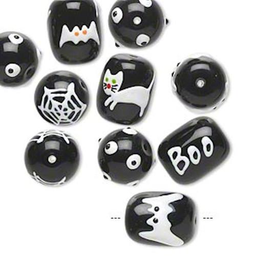 10 Halloween Hand Painted Epoxy Glass Black & White Beads