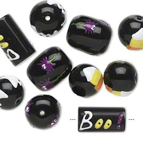 10 Halloween Hand Painted Epoxy Glass Black & White Yellow Beads *