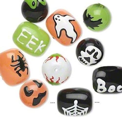 10 Halloween Hand Painted Epoxy Glass Boo, Eek Beads *
