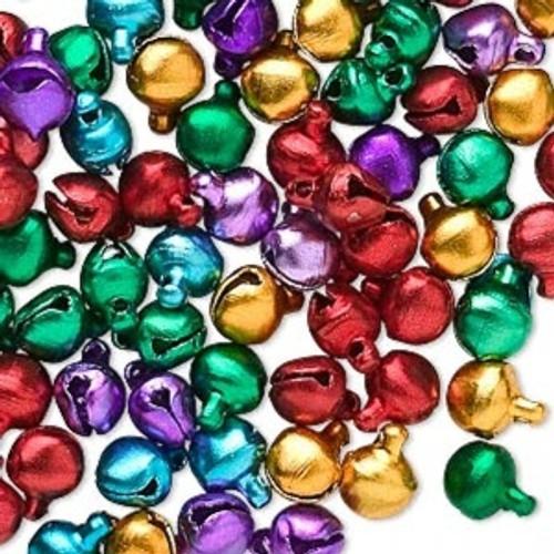 100 Jewel Tones Aluminum Jingle Bells  ~ 6mm