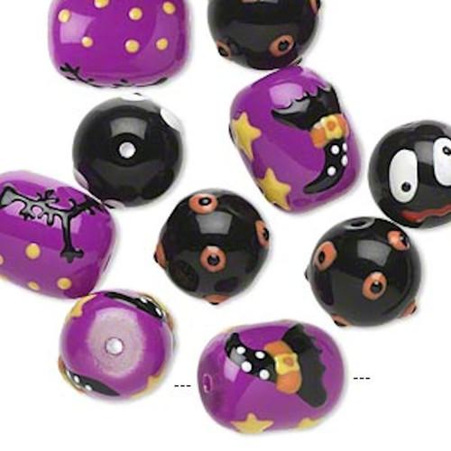 10 Halloween Hand Painted Epoxy Glass Black & Purple Beads `