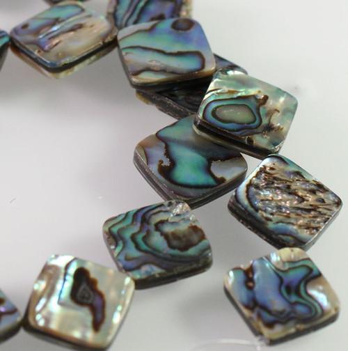 1 Strand Gorgeous Paua Shell Flat 14x14mm Diamond Beads *