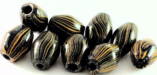 9 Large Lampwork Glass Black & Orange 16x23mm Bicone Beads  *