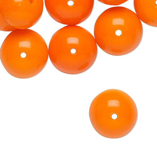 30 German Vintage Pressed Glass Opaque Neon Orange 9x4mm Bead Caps *