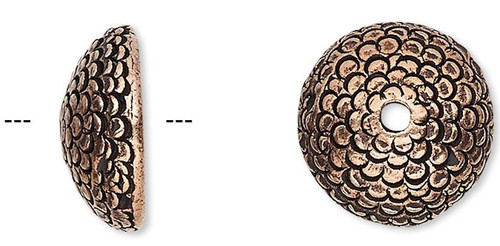 2 Antiqued Copper Plated Pewter Texture Acorn Bead Caps