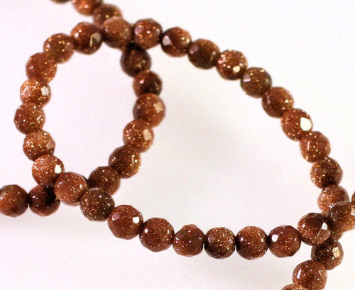 1 Strand Brown Goldstone Manmade 4mm Faceted Round Gemstone Beads