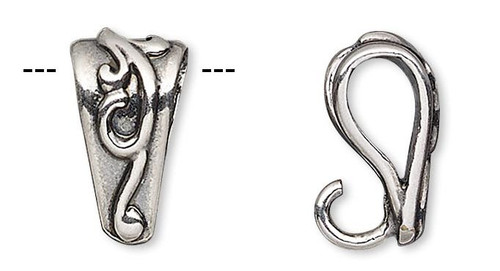 2 Antiqued Silver Plated Brass Bail 10x5mm Swirl Design with Hidden Loop For Pendants
