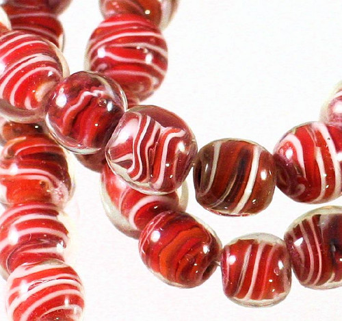 1 Strand Clear & Red White Swirl Lampwork  10mm Round Beads  *