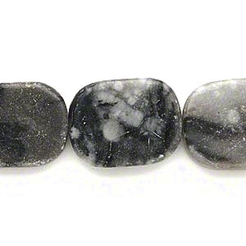 1 Strand (20) Grey & Black Marble 20x16mm Flat Rectangle Beads with 1mm Hole *