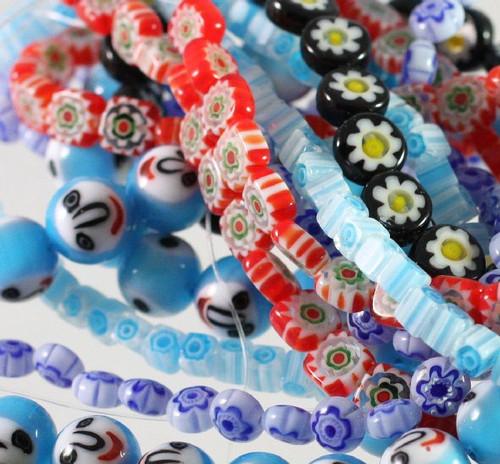 "Five 16"" Strands  A Mix of Millefiori 4x4mm-12x12mm Glass Beads  *"