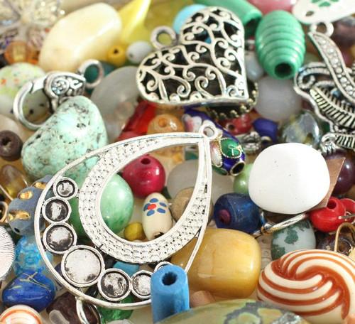 1 Pound Multi Shapes & Colors Bead & Findings Treasure Mix B