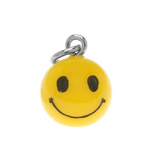 1 Adorable 3 Dimensional Resin Yellow Smiley Face Charms