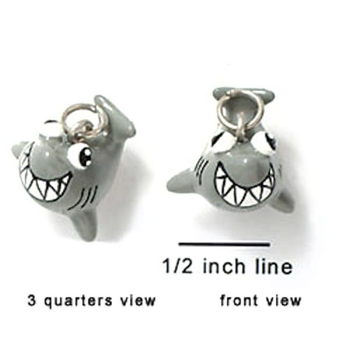 1 Adorable 3 Dimensional Resin Hand Painted Grey Happy Shark Charm *