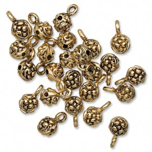 6 Antiqued Gold Finished Pewter 6mm Nugget Slider Beads with Loop