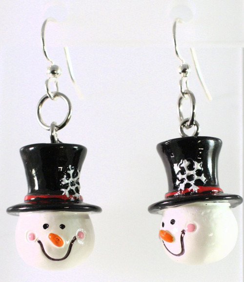 1 Pair Hand Painted 3D Resin Snowman with Snowflake Hat Charm Earrrings