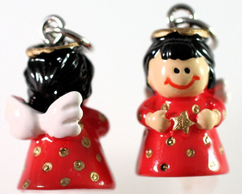1 Pair Hand Painted 3D Resin Angel with Star Red Dress Charm Earrings