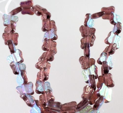 1 Strand Czech Pressed Glass Metallic Light Bronze 11x9mm Butterfly Beads *