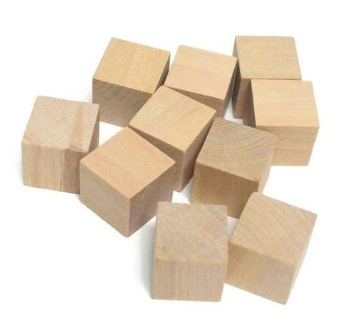 """100 Unfinished Wood 1"""" Hardwood Straight Edge Square Block Cubes"""