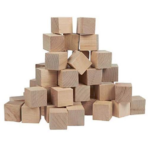 """100 Unfinished Wood 1/2"""" Hardwood Straight Edge Square Block Cubes"""