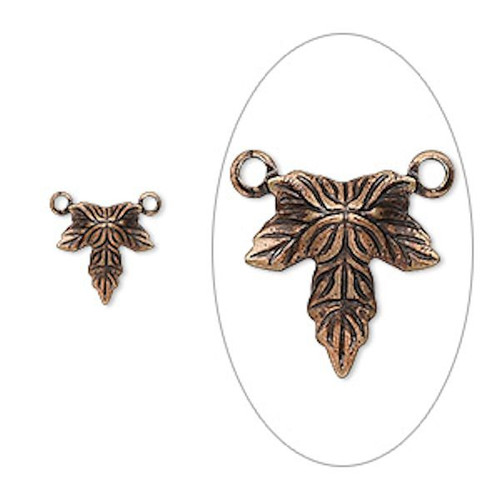 100 Antiqued Copper Plated Brass Leaf Leaves Connector Charms ~ 10x10mm   *