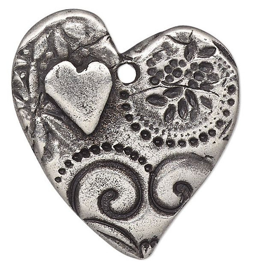 1 Antiqued Pewter Double Sided 24x23mm Heart with Amor Design Charm
