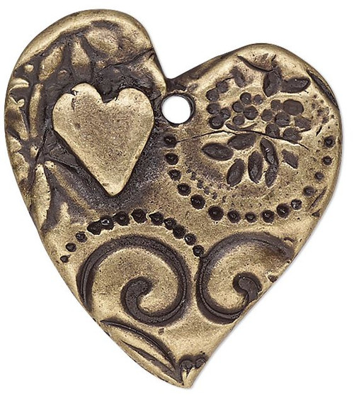 1 Antiqued Brass Plated Pewter Double Sided 24x23mm Heart with Amor Design Charm
