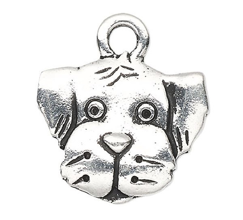 1 Antiqued Silver Plated Pewter Double Sided 15x13mm Spot Dog Charm