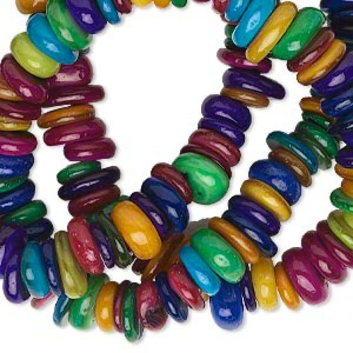 1 Strand Assorted Bright Colors Freeform Mother of Pearl MOP Rondelle Beads