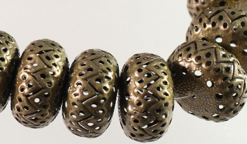 1 Strand Antiqued Brass Plated Steel 22x12mm Cut Out Rondelle Beads *