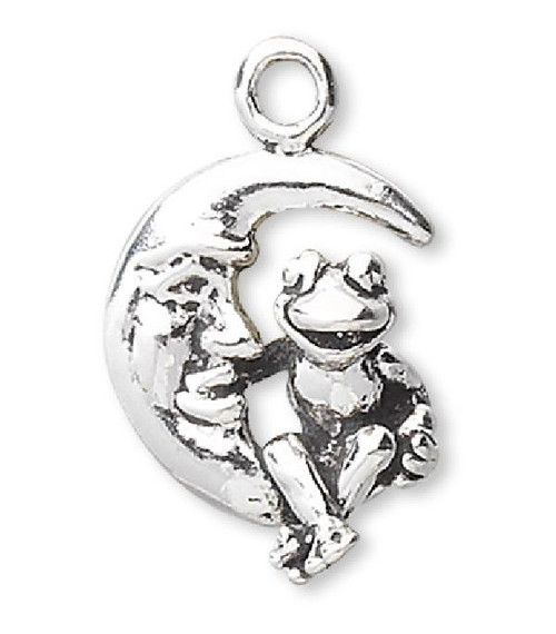 1 Antiqued Sterling Silver 11x9mm Double Sided FROG on Crescent Moon Face Charm