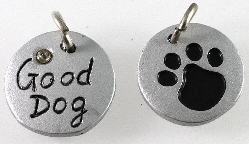 "1 Silver Resin 16mm Round Paw Print Crystal with ""Good Dog"" Charm *"