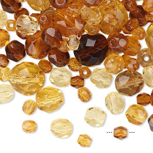 100 Czech Fire Polished Glass Faceted Round Beads ~  Amber Topaz Mix *