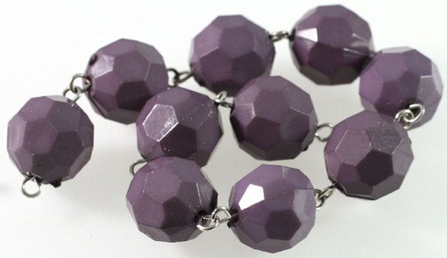 1 Strand Acrylic Purple 14mm Faceted Round Bead Connectors *