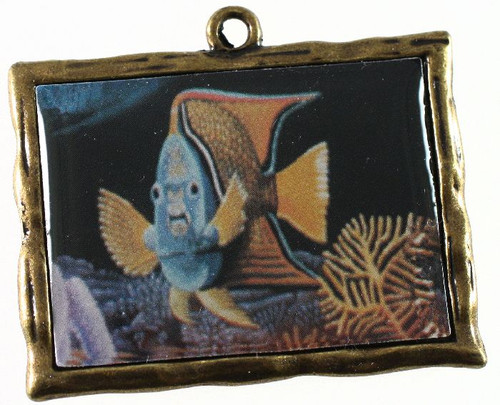 1 Antiqued Gold Plated Pewter 46x35mm Frame Charms with Tropical Fish *