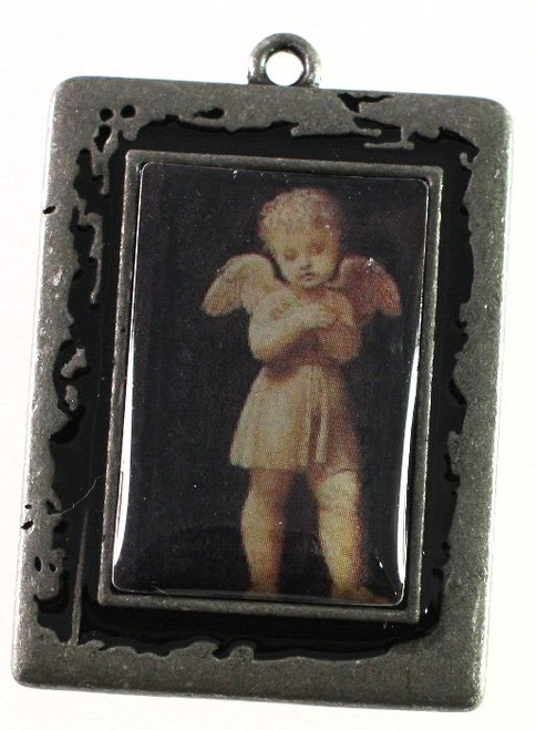 1 Antiqued Silver Plated Pewter 30x40mm Frame Focal with Angel *