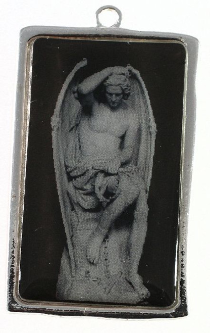 1 Antiqued Silver Plated Pewter 31x50mm Frame Focal with Lucifer *