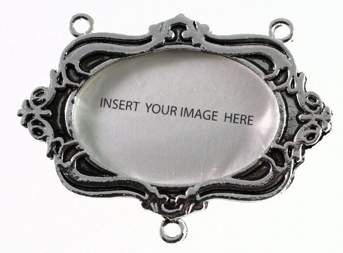 1 Antiqued Silver Plated Pewter Photo Frame with Oval Insert *