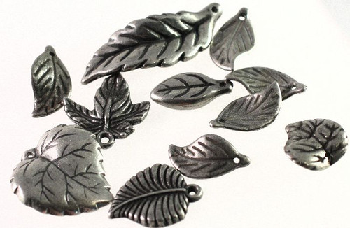 11 Antiqued Silver Metalized Plastic Leaf Charm Mix *